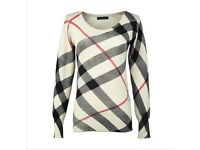 Burberry check style jumper - beige