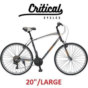 """NEW CRITICAL CYCLE 21 SPEED BIKE 2688 182354678 BICYCLE MEN'S GRAPHITE/ORANGE 20"""" LARGE"""