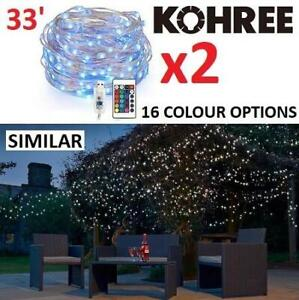 2 NEW KOHREE 33 LED STRING LIGHTS HP420-CA 241007717 W/ REMOTE 100 LEDS USB POWERED 16 COLOURS