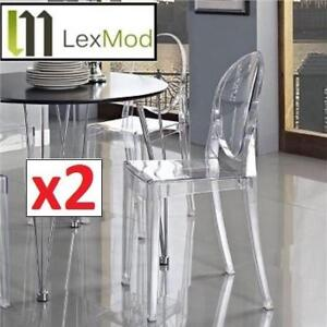 NEW* 2 LEXMOD CLEAR GHOST CHAIR EEI-122-CLR 202106162 PHILIPPE VICTORIA STARCK STYLE