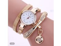 Women\'s Fashion Ladies Faux Leather Rhinestone Analog Quartz Wrist Watches