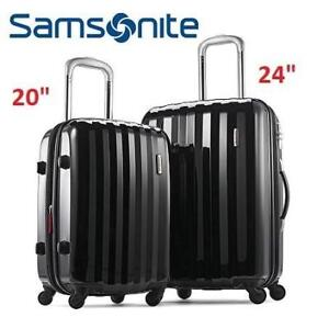 "OB 2PC SAMSONITE LUGGAGE SET 111719-1041 210977999 OPEN BOX PRISM HARDSIDE SPINNER BLACK CHECKED TRAVEL 20"" 24"""