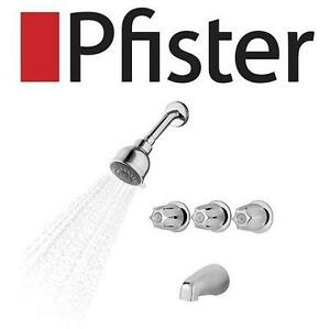 NEW PFISTER TUB AND SHOWER FAUCET BEDFORD, 3 HANDLE, POLISHED CHROME, 3 FUNCTION SHOWER HEAD 105898154