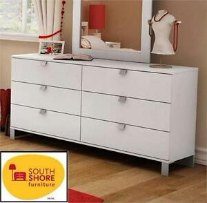 NEW* SOUTH SHORE 6-DRAWER DRESSER PURE WHITE - HOME FURNITURE DECOR BEDROOM DOUBLE DRESSER CHEST  89940336
