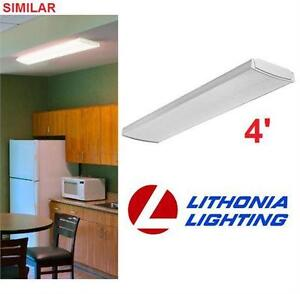 NEW LITHONIA LED LIGHT FIXTURE 4' WHITE - WRAPAROUND - CEILING FLUSH MOUNT  HOME LIGHTING KITCHEN WORKSHOP 80427330