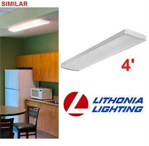 NEW LITHONIA LED LIGHT FIXTURE 4' WHITE - WRAPAROUND - CEILING FLUSH MOUNT  HOME LIGHTING KITCHEN WORKSHOP 80427330