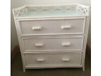 2 x pretty vintage whicker cane white bedroom drawers £40 each