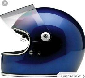 Metallic navy Biltwell S helmet with visor