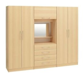 BRAND NEW 4 DOOR FITMENT WARDROBE WITH MIRROR AND BULB FOUR DOORS - SAME DAY DELIVERY