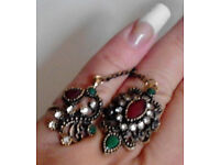 2 New Ornate Gold Toned Multi Coloured Gemstones Joined Rings.(Size Adjustable).