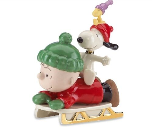 Lenox Peanuts Snoopy Sledding Adventure Charlie Brown Woodstock NIB