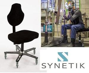 NEW SYNETIK VEGA ERGONOMIC CHAIR FAUX BLACK SUEDE - Product Category: Office  Seating  Specialty Seating 104384373