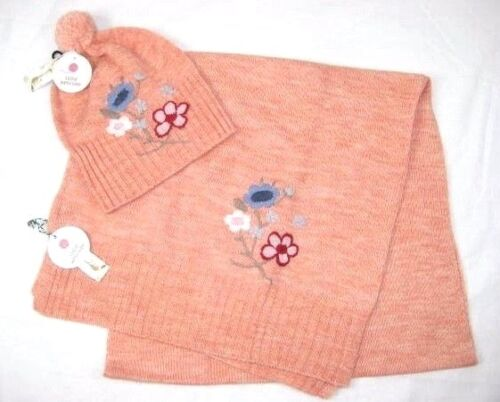 Studio Workshop Womens Floral Embroidered Hat & Scarf 2 Pc Set Orange Wool Knit