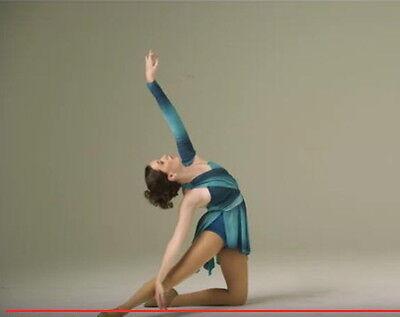 Zeitgenössisch Blaugrün, Blau Lyrisch Tanzkleid Kostüm Griechisch Child Medium