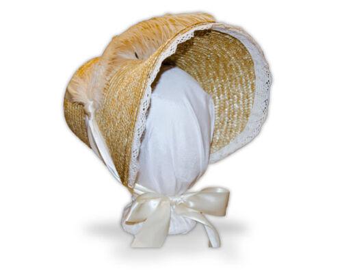 Ivory Trimmed Regency Poke Jane Austn Style Bonnet 1790