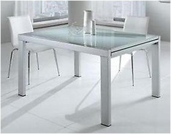 Tavolo moderno in metallo quadrato piano in vetro cucina for Tavolo cucina moderno allungabile