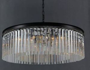 Round chandelier w/black frame and solid crystal prism beams