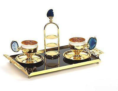 Ottoman Turkish Greek Arabic Coffee Serv Set with Sinister Glass Tray فنجان القهوة