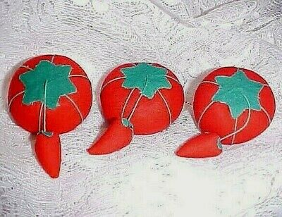 New Set Of 3 Fabric Red Tomato Pin Cushions With Strawberry Emery
