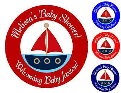 NAUTICAL SAILBOAT BABY SHOWER PARTY PERSONALIZED ROUND STICKERS FAVORS LABELS C