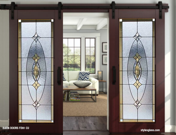 interior Barn doors with Bevels  stain glass panels & hardware