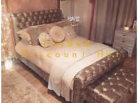 🌟 *NEW* Luxury Crushed Velvet Sleigh Bed With Optional Storage 🌟