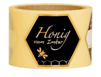 "Edles Honig-Etikett ""Honig vom Imker"", 500g, 100 Stück, selbstklebend, Honigglas"