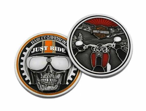 Harley Davidson® Just Ride Skull Challenge Coin 1.75 inch Bar & Shield