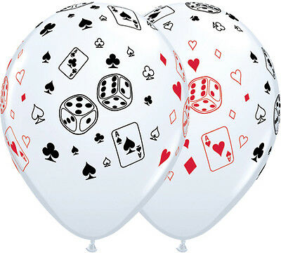 10 pc Cards & Dice White Casino & Poker Latex Balloon Party Decoration Birthday](Poker Decorations Birthday Party)