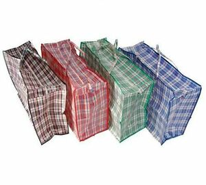 Large Plastic Strong Laundry Shopping Storage Reusable Plastic Zip Bag X 6 Ebay
