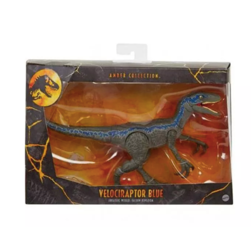 Jurassic World Amber Collection Velociraptor Blue Action Fig