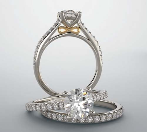 1 carat Round Diamond Engagement Solitaire 14k Two Tone Gold Ring E SI2 GIA