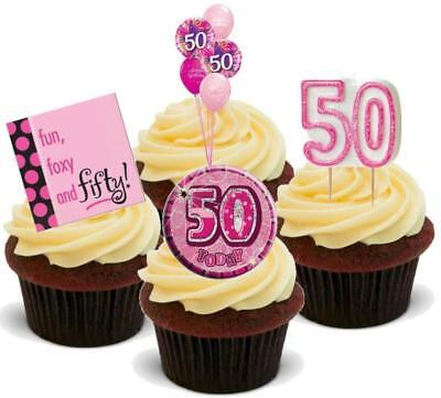 50th Birthday Novelties (NOVELTY 50TH BIRTHDAY PINK MIX 12 STAND UP Edible Cake Toppers Female Fifty)