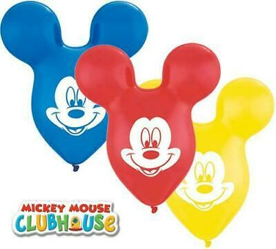 "Lot of 5! 15"" Mousehead-Shaped Ears Assorted Mickey Mouse Disney Latex Balloons , used for sale  Sparks"