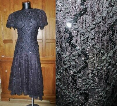 80s Dresses | Casual to Party Dresses VTG 80s Sheer LACE Sequin Full Skirt Black Cocktail Goth Wedding Party DRESS $50.99 AT vintagedancer.com