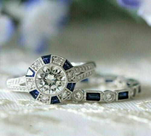 3.10Ct Round Diamond Art Deco Engagement Wedding Ring Set 14k White Gold Size 7