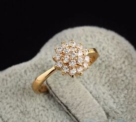 flower ring gold plated