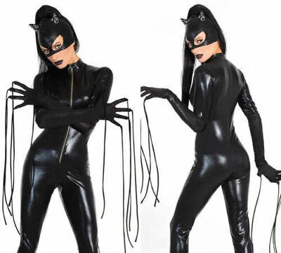 Sexy Halloween Kostüm Leder Overall Wild Katze Leopard Catsuit Cosplay - Wilde Katze Halloween Kostüm