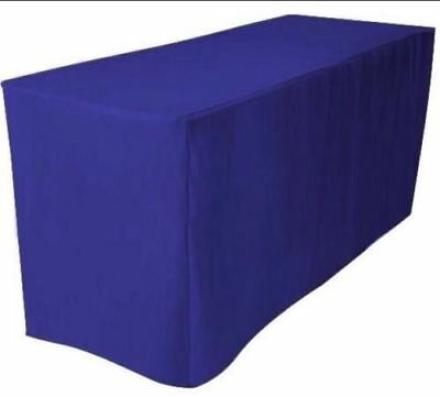 8 Ft. Fitted Polyester Tablecloth Trade Show Booth Dj Table Cover Royal Blue