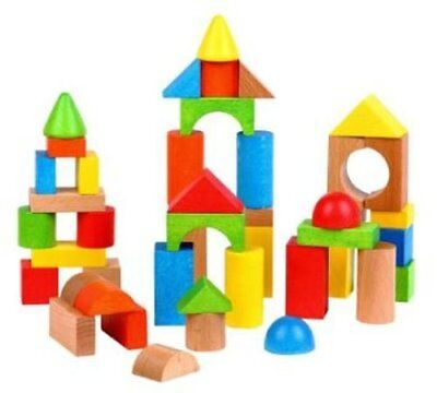 Lelin Wooden Wood Childrens Kids Building Blocks Stacking Bricks Toy 100 Pieces