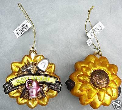 Satin glass gardening gardener sunflower Christmas ornament NEW - Glass Sunflower Ornament
