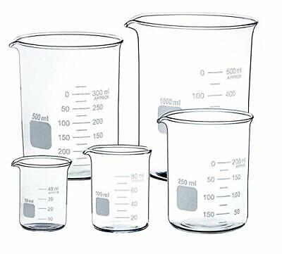 Glass Beaker Set Of 5 Borosilicate Thick Low Form - 50ml 100ml 250ml 500ml 10...