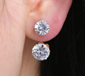 GOLD PLATED DOUBLE CRYSTAL DROP STUD EARRINGS