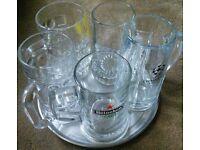 5 x Large Branded Beer Mugs Tankards Glasses