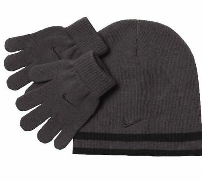 - Nike Boys Knit Hat & Gloves Set 8-20 Beanie REVERSIBLE Winter BLACK GRAY Swoosh