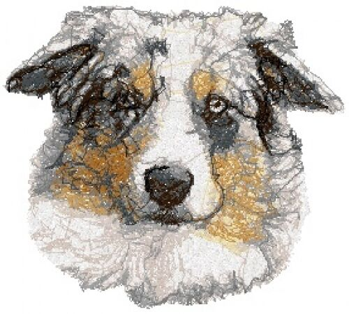 Embroidered Long-Sleeved T-shirt - Australian Shepherd AED16048 Sizes S - XXL