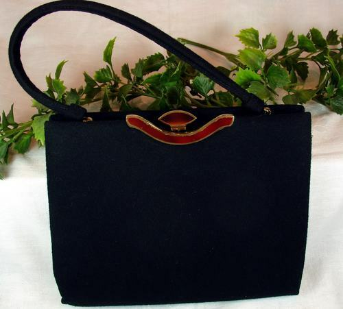 Vintage 50's Black Wool Lewis Top Handle Handbag Purse