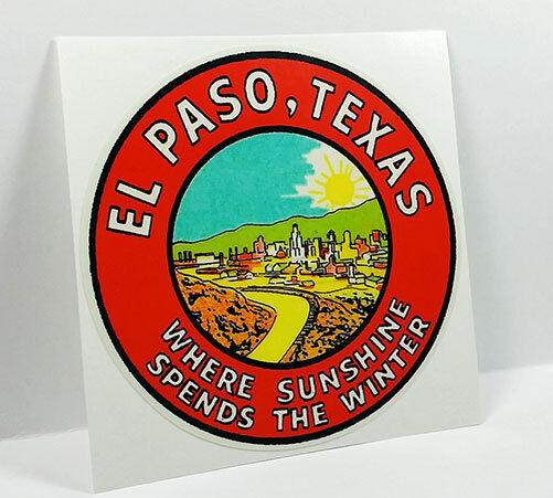 El Paso Texas Vintage Style Travel Decal / Vinyl Sticker, Luggage Label