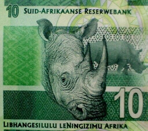 RHINO 2014 SOUTH AFRICA Paper Money 10 Rand Banknote Mandella Series Mint