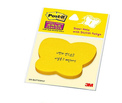 3m Post It Butterfly Shaped Sticky Memo Notepad Yellow 76mm76mm Officeschool